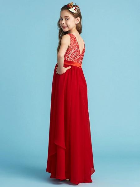 Sheath / Column Jewel Neck Floor Length Chiffon / Lace Junior Bridesmaid Dress With Sash / Ribbon / Appliques_2