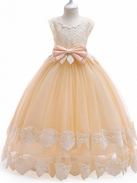 Princess / Ball Gown Ankle Length Wedding / Party Flower Girl Dresses - Tulle Cap Sleeve Jewel Neck With Bow(S) / Tier / Appliques_1