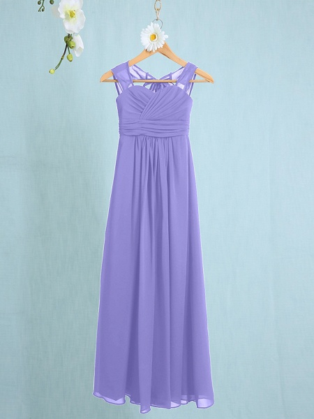 Sheath / Column Straps Ankle Length Chiffon Junior Bridesmaid Dress With Ruched / Natural_35