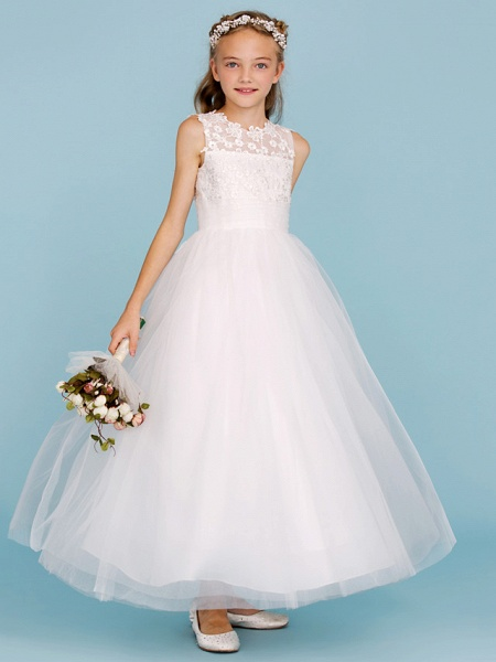 Princess / A-Line Crew Neck Ankle Length Lace / Tulle Junior Bridesmaid Dress With Sash / Ribbon / Wedding Party_1
