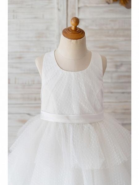 Ball Gown Knee Length Wedding / Birthday Flower Girl Dresses - Tulle Sleeveless Jewel Neck With Belt / Appliques_3