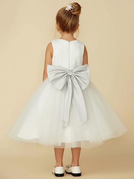 A-Line Tea Length Wedding / First Communion Flower Girl Dresses - Lace / Tulle Sleeveless Jewel Neck With Lace / Sash / Ribbon_2