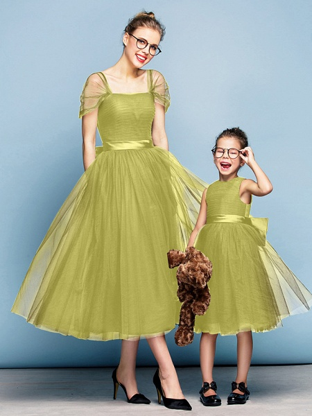 Princess Tea Length Party / Prom / Formal Evening Flower Girl Dresses - Tulle Short Sleeve Square Neck With Bow(S) / Ruched / Elegant_18