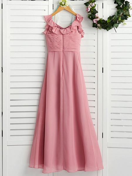 A-Line Boat Neck Maxi Chiffon Junior Bridesmaid Dress With Cascading Ruffles / Ruching_2