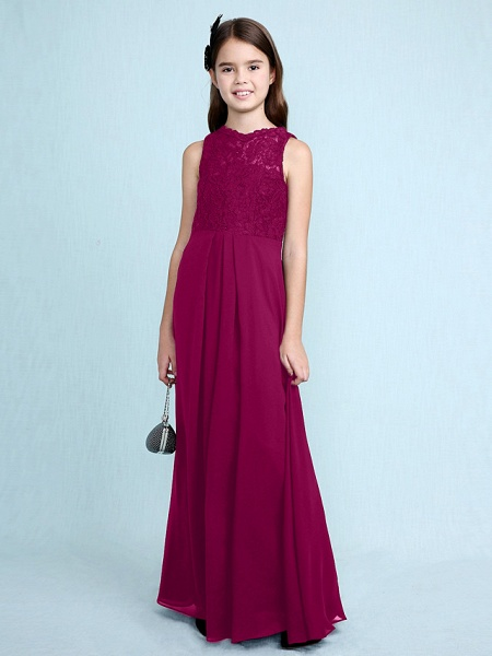 Sheath / Column Scoop Neck Floor Length Chiffon / Lace Junior Bridesmaid Dress With Lace / Natural_44