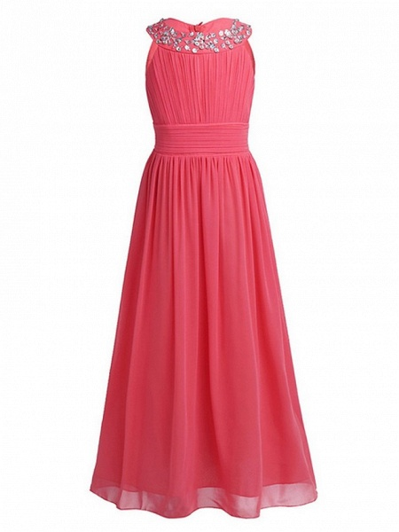 A-Line Round Floor Length Chiffon / Sequined Junior Bridesmaid Dress With Beading / Ruching_6