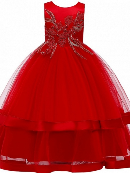 Princess / Ball Gown Floor Length Wedding / Party Flower Girl Dresses - Tulle Sleeveless Jewel Neck With Bow(S) / Appliques / Cascading Ruffles_6