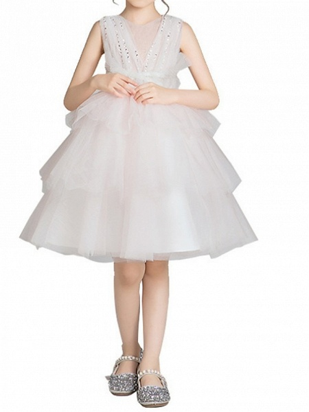 Princess Knee Length Pageant Flower Girl Dresses - Lace Sleeveless Jewel Neck With Bow(S)_5