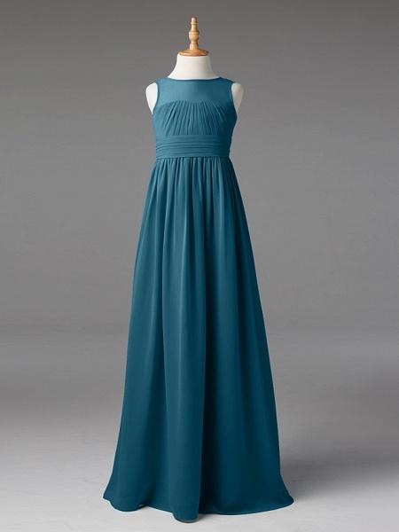 Princess / A-Line Jewel Neck Floor Length Chiffon Junior Bridesmaid Dress With Sash / Ribbon / Pleats_42