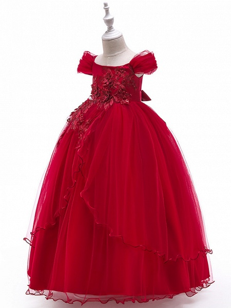 Ball Gown Floor Length Wedding / Party Flower Girl Dresses - Tulle Sleeveless Off Shoulder With Bow(S) / Solid / Tiered_6