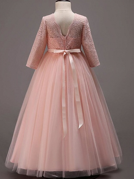 Princess Floor Length Wedding / Party / Pageant Flower Girl Dresses - Lace / Tulle / Cotton Half Sleeve Jewel Neck With Lace / Belt_12