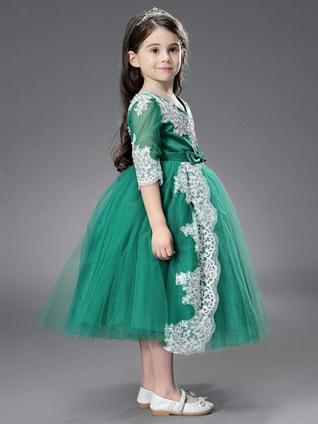 Princess / Ball Gown Ankle Length / Royal Length Train Wedding / Formal Evening Flower Girl Dresses - Tulle / Matte Satin Long Sleeve Jewel Neck With Beading / Appliques / Split Front_4