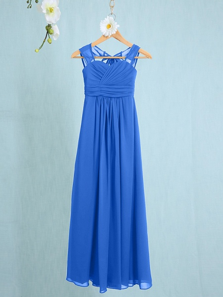 Sheath / Column Straps Ankle Length Chiffon Junior Bridesmaid Dress With Ruched / Natural_30