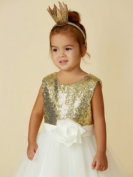 Princess Knee Length Pageant Flower Girl Dresses - Tulle / Sequined Sleeveless Jewel Neck With Sash / Ribbon / Bow(S) / Flower_6