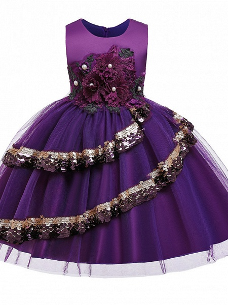 Princess Knee Length Pageant Flower Girl Dresses - Poly / Polyester / Cotton Sleeveless Jewel Neck With Butterfly Design / Beading / Appliques_2