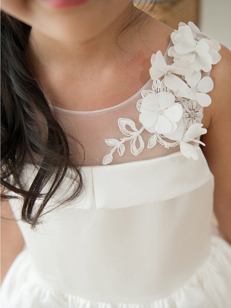 Ball Gown Tea Length Wedding / First Communion / Birthday Flower Girl Dresses - Satin Sleeveless Jewel Neck With Petal / Appliques_3