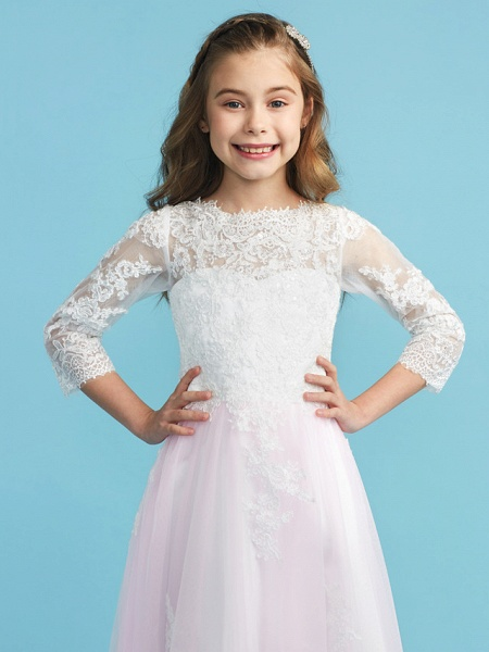 Princess / A-Line Crew Neck Floor Length Lace Junior Bridesmaid Dress With Lace_6