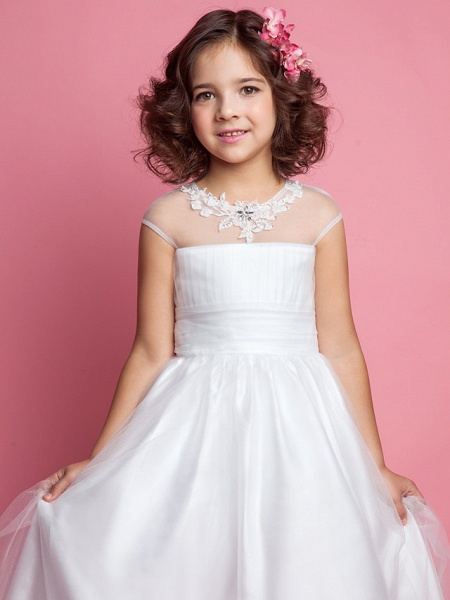 Princess / A-Line Floor Length Wedding / First Communion Tulle Sleeveless Jewel Neck With Ruched / Beading / Appliques_5