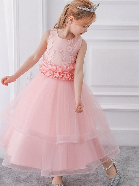 Princess / Ball Gown Ankle Length Wedding / Party Flower Girl Dresses - Tulle Sleeveless Jewel Neck With Sash / Ribbon / Bow(S) / Appliques_7