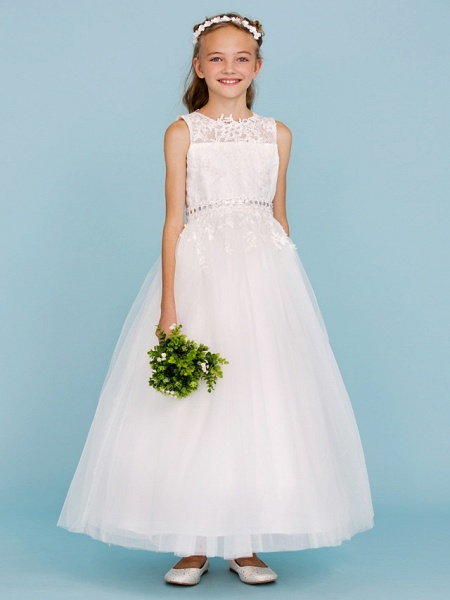 Ball Gown Crew Neck Ankle Length Lace / Tulle Junior Bridesmaid Dress With Sash / Ribbon / Beading / Appliques / Wedding Party_3