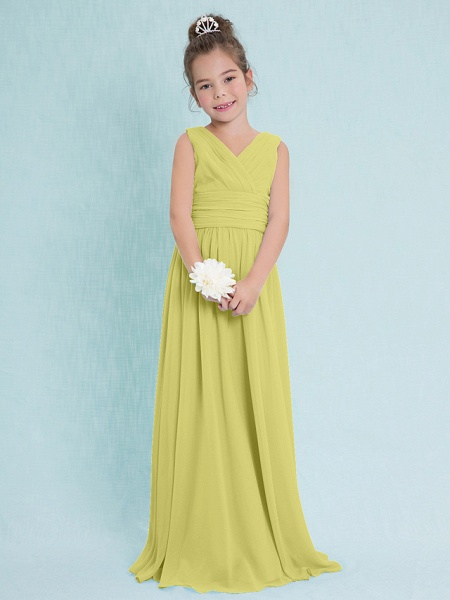 Sheath / Column V Neck Floor Length Chiffon Junior Bridesmaid Dress With Criss Cross / Ruched / Natural_17