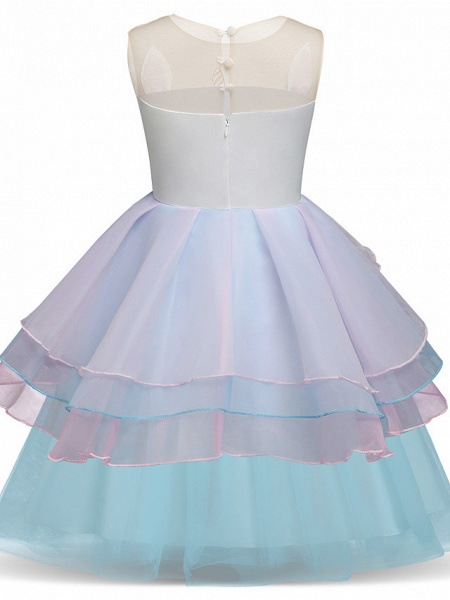 Princess Midi Party / Birthday Satin / Tulle Sleeveless Jewel Neck With Tier / Embroidery / Appliques_5