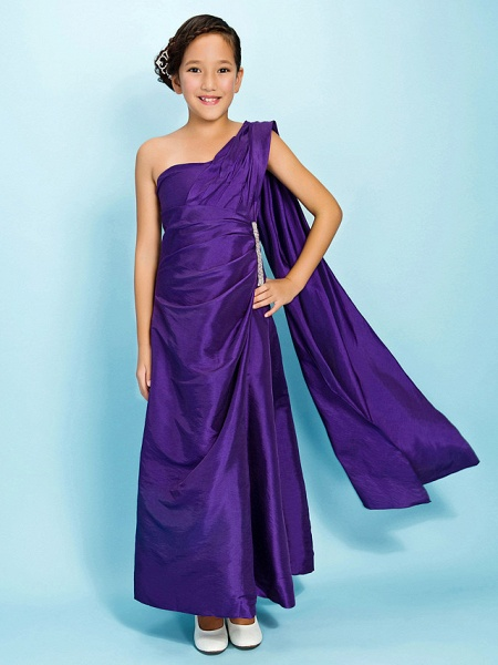 Princess / A-Line One Shoulder Watteau Train / Ankle Length Taffeta Junior Bridesmaid Dress With Beading / Side Draping / Spring / Fall / Winter / Apple / Hourglass_1