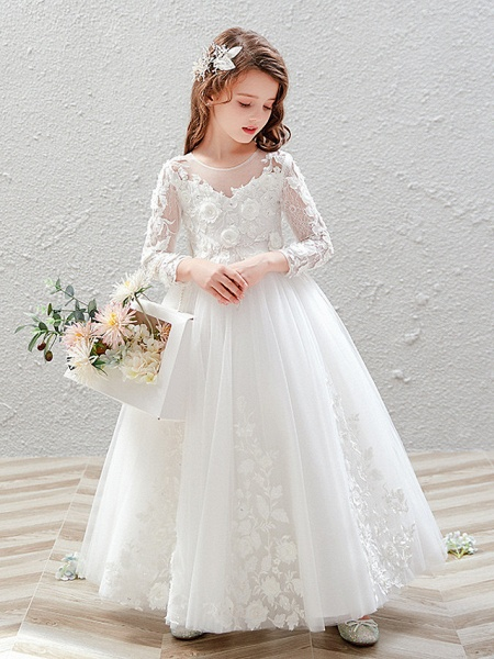 Princess / Ball Gown Ankle Length Wedding / Party Flower Girl Dresses - Tulle 3/4 Length Sleeve Jewel Neck With Pleats / Appliques_3