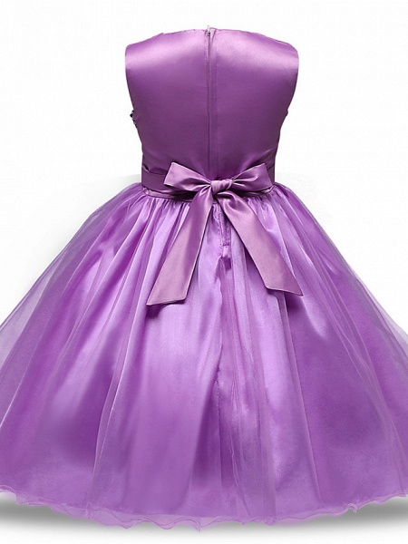 Princess Midi Wedding / Party / Pageant Flower Girl Dresses - Tulle Sleeveless Jewel Neck With Belt / Bow(S) / Appliques_9