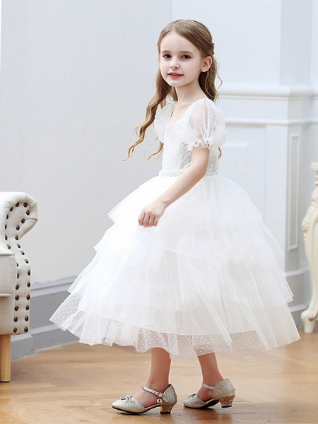 Princess / Ball Gown Tea Length Wedding / Party Flower Girl Dresses - Tulle Short Sleeve Square Neck With Cascading Ruffles_3
