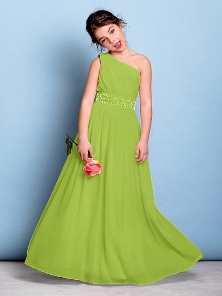 A-Line One Shoulder Floor Length Chiffon Junior Bridesmaid Dress With Sash / Ribbon / Beading / Side Draping / Natural_28