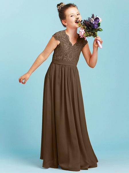 Princess / A-Line V Neck Floor Length Chiffon / Lace Junior Bridesmaid Dress With Sash / Ribbon / Pleats / Wedding Party_33