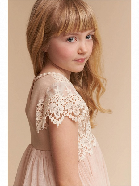 A-Line Knee Length Wedding / Party Flower Girl Dresses - Lace / Tulle Cap Sleeve Jewel Neck With Solid_3