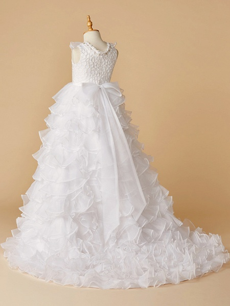 Ball Gown Chapel Train Wedding / First Communion / Pageant Flower Girl Dresses - Lace / Organza Sleeveless Jewel Neck With Beading / Spring / Summer / Fall / Winter_2