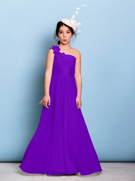A-Line One Shoulder Floor Length Chiffon Junior Bridesmaid Dress With Sash / Ribbon / Criss Cross / Ruched / Natural_36
