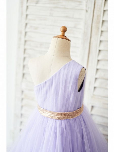 Ball Gown Asymmetrical Wedding / Birthday Flower Girl Dresses - Tulle Sleeveless One Shoulder With Belt_4