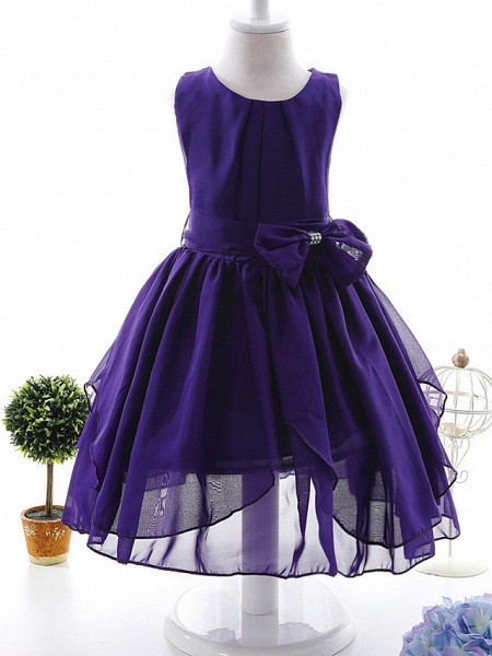 Ball Gown Ankle Length Wedding / Party Flower Girl Dresses - Tulle Sleeveless Jewel Neck With Bow(S) / Tier / Solid_8
