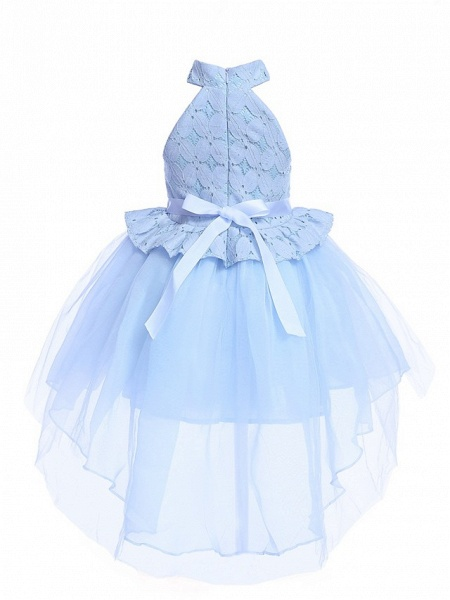 Princess Midi / Medium Length Pageant Flower Girl Dresses - Organza / Tulle Sleeveless Halter Neck With Petal / Lace / Solid_4