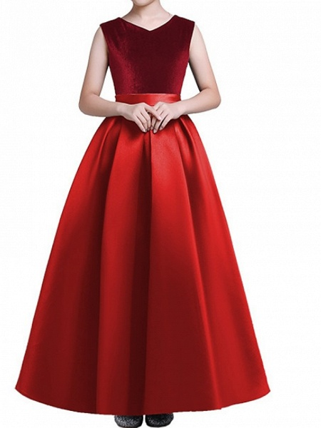 A-Line Floor Length Pageant Flower Girl Dresses - Polyester Sleeveless V Neck With Pleats_3
