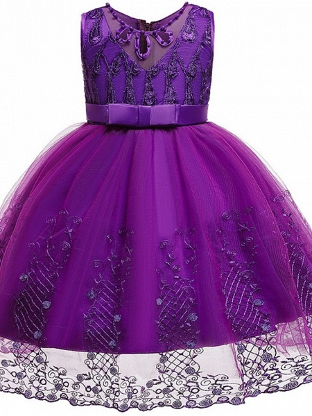 Princess / Ball Gown Knee Length Wedding / Party Flower Girl Dresses - Tulle Sleeveless Jewel Neck With Sash / Ribbon / Bow(S) / Beading_10
