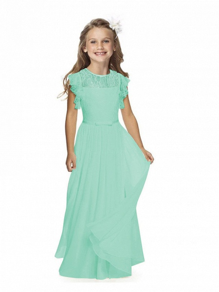 Sheath / Column Long Length Party / Birthday / First Communion Flower Girl Dresses - Chiffon / Lace Short Sleeve Jewel Neck With Lace / Butterfly_7