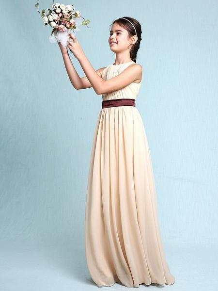 Sheath / Column Scoop Neck Floor Length Chiffon Junior Bridesmaid Dress With Draping / Natural_4