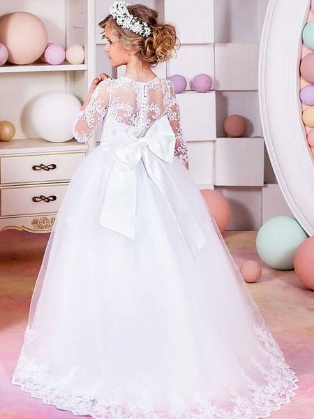 Princess / Ball Gown Floor Length Wedding / Party Flower Girl Dresses - Lace / Tulle Half Sleeve Jewel Neck With Sash / Ribbon / Bow(S) / Solid_2