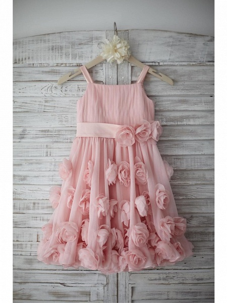 A-Line Knee Length Holiday Flower Girl Dresses - Chiffon Sleeveless Straps With Sash / Ribbon / Bow(S) / Draping_3