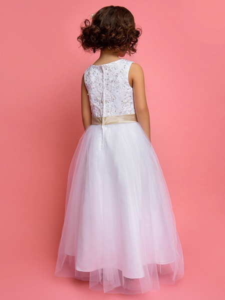 Princess / A-Line Ankle Length Wedding / First Communion Flower Girl Dresses - Satin / Tulle Sleeveless Jewel Neck With Lace / Pearls / Sequin_3