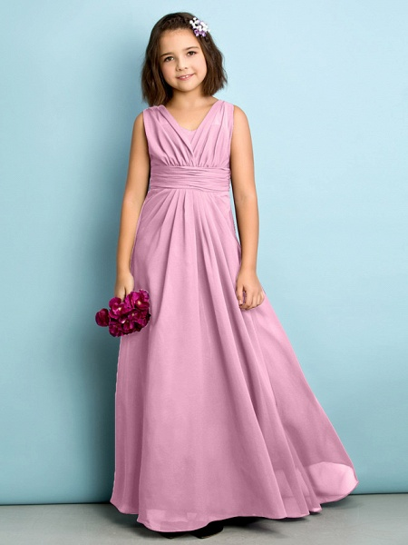 A-Line V Neck Floor Length Chiffon Junior Bridesmaid Dress With Criss Cross / Natural / Mini Me_10