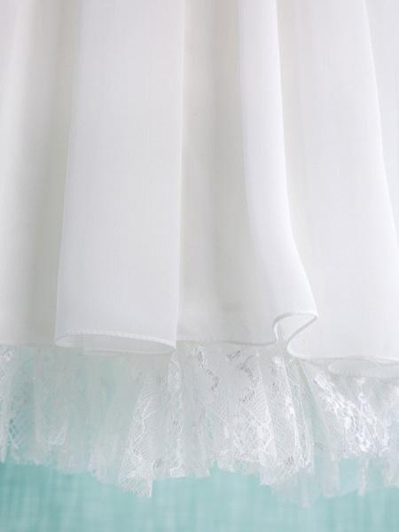 A-Line Short / Mini Wedding / First Communion / Holiday Flower Girl Dresses - Chiffon Sleeveless Jewel Neck With Lace / Pleats_6