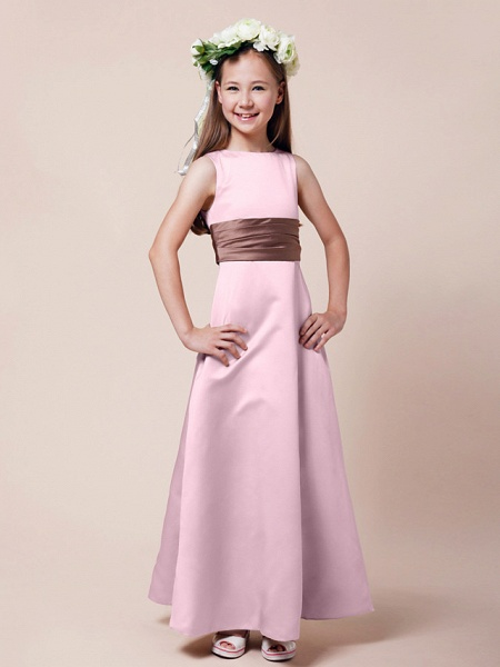 Princess / A-Line Bateau Neck Floor Length Satin Junior Bridesmaid Dress With Sash / Ribbon / Ruched / Spring / Summer / Fall / Winter / Apple_7
