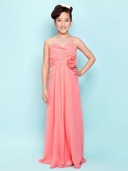 Sheath / Column Sweetheart Neckline / Spaghetti Strap Floor Length Chiffon Junior Bridesmaid Dress With Flower / Empire / Spring / Summer / Fall / Hourglass_1