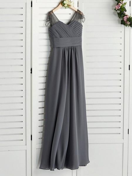 A-Line V Neck Maxi Chiffon Junior Bridesmaid Dress With Ruching_3